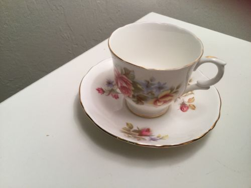 Fine Bone China Crown Staffordshire England Floral Tea Cup and Saucer