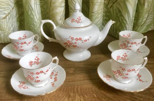 Crown Staffordshire Bone China Tea Set Orange Flowers Gold Branches Rare Retro