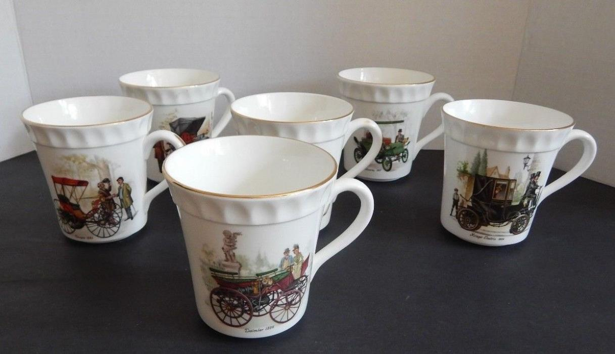 Crown Fine Bone China Staffordshire Antique Automobile Cups - Set of 6, White