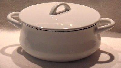 Dansk White Enamel 3 Quart Dutch Oven Pan Pot w/ Lid