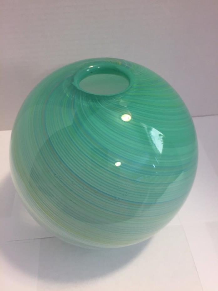 Vintage Dansk International Art Glass Round Globe Blue green Swirl Vase orb ball
