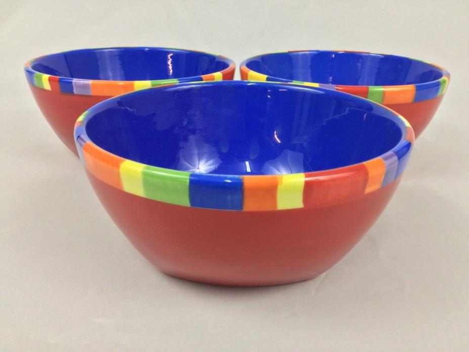Dansk Caribe Antigua THREE (3)  Soup Cereal Bowls Red Blue Rainbow Stripe