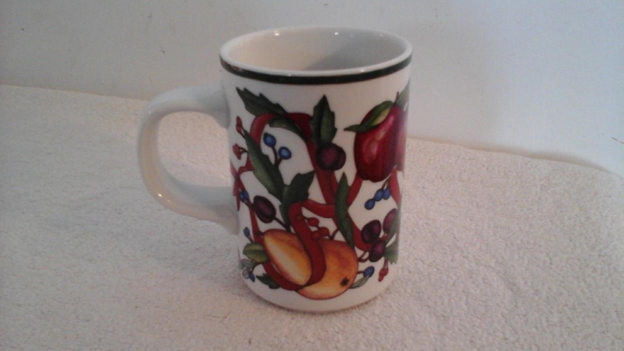 Dansk Holiday Harvest Fruits, Ribbons & Holly 10oz Mug, Made In Portugal