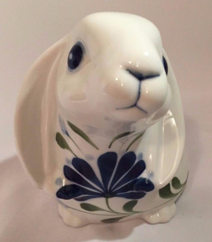 DANSK Hand Painted Bunny Rabbit Blue & Green Floral Vintage 1998