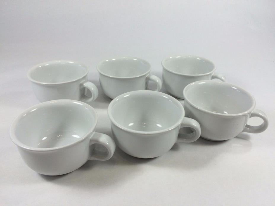 6 Dansk White Coffee Cups, International Design, JAPAN  Plain, Small, Short 3.5