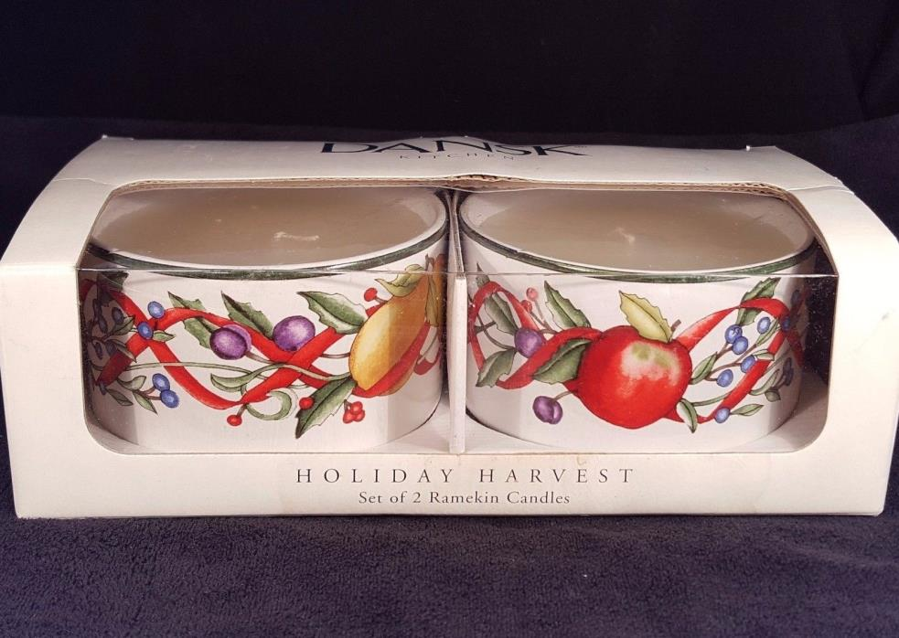 Dansk Ramekin Candles Kitchen Holiday Harvest set of 2 Large Ramekins Christmas