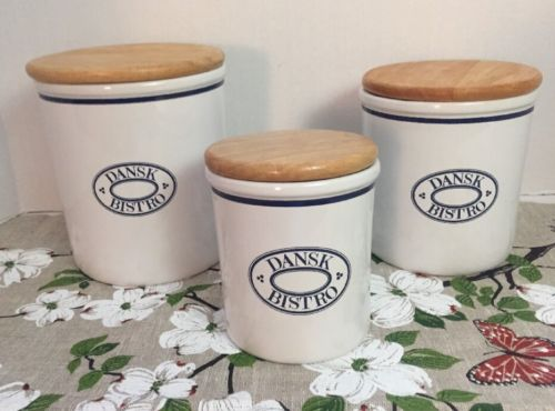 Dansk Bistro Christianshavn Blue Canister Set of 3 Canisters Wood Lids