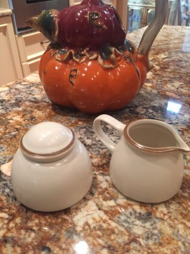 Dansk SANTIAGO WHITE Sugar Bowl & Lid & Creamer 3 pcs Ivory Brown NWT