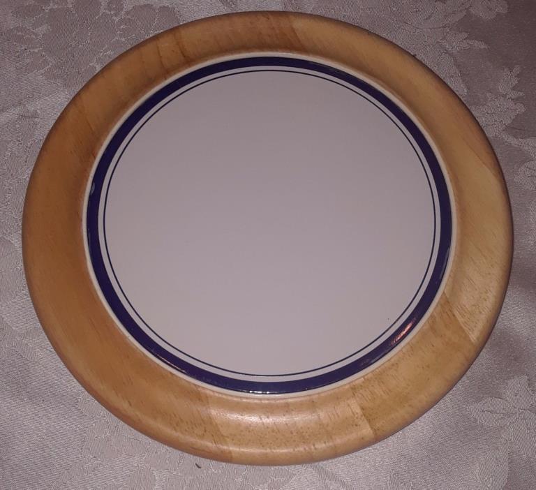 Mint Cond Wooden Dansk Dish - Wooden Trimmed - Glass White Top Diameter 8