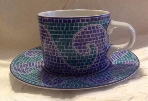 Set Of 4 Dansk Mosaic Cups & Saucers
