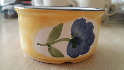 Dansk Yellow Ramekin With Blue Trim & Violet Flower Decoration