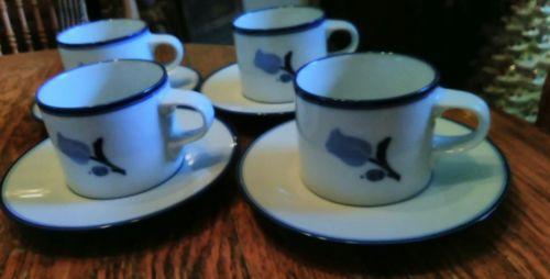 4 Dansk ~ TIVOLI ~ LA TULIPE BLUE ~ Cups / Saucers Tulips