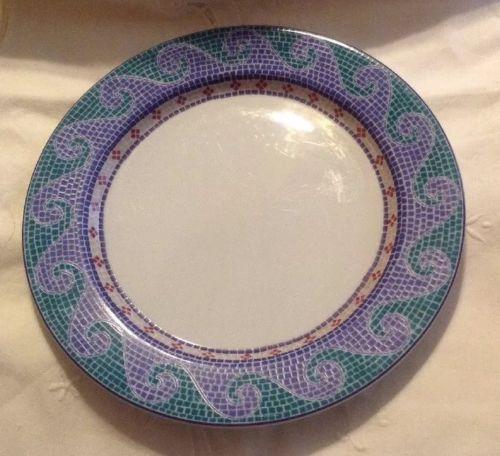 Set of 3 DANSK Waves Mosaic Tile Dinner Plate Blue Green White 11