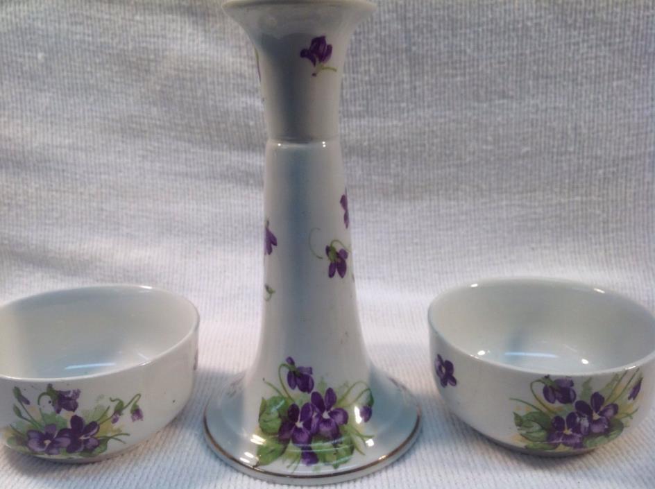 ANTIQUE  violets purple PORCELAIN CANDLESTICK 2 -  Violet bowls