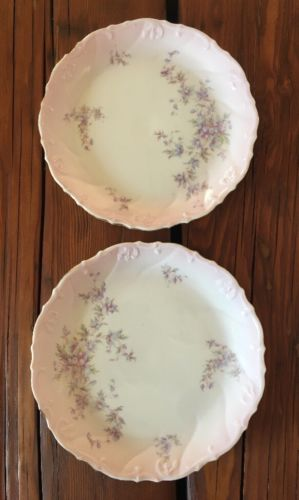 "Vintage Austria Hand Painted Porcelain 8 3/8"" Plate Purple Flowers Gilt Rim"