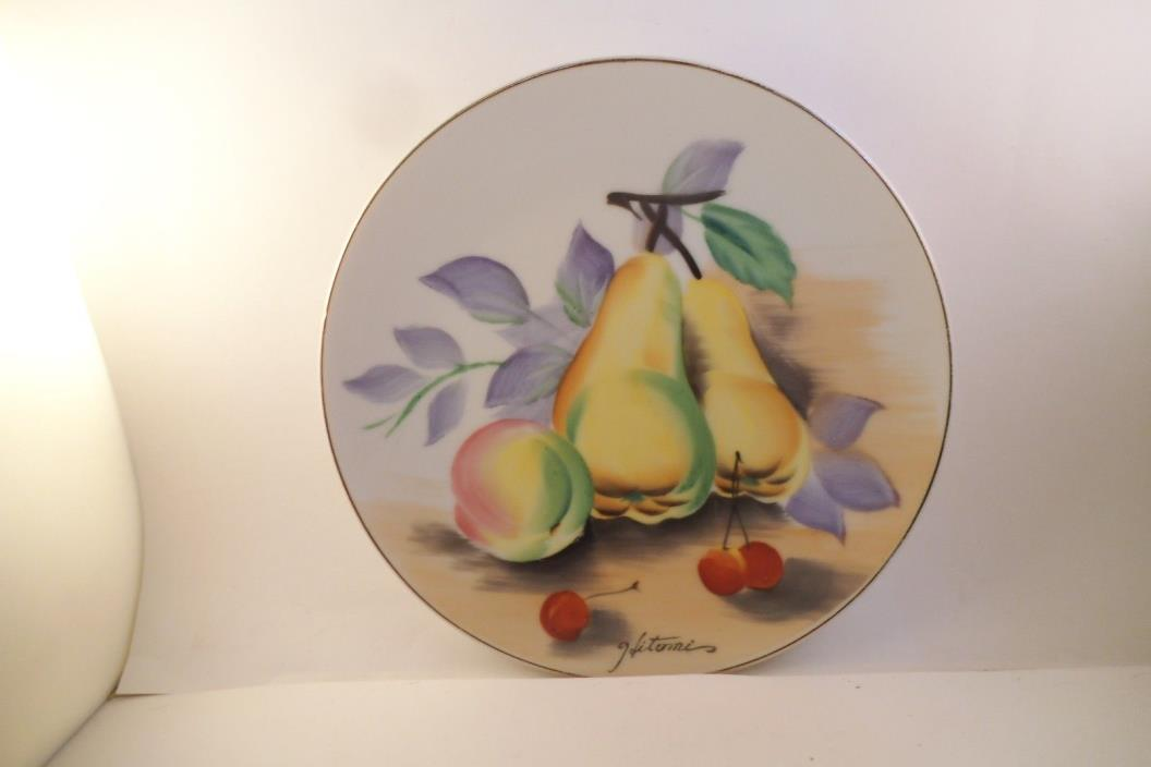 Vintage Ucagco Made in Japan Decorative Plate Fruit Pears Cherry