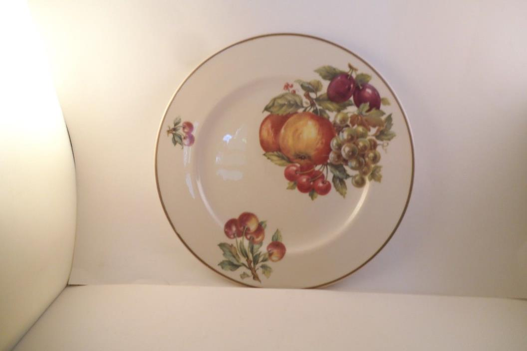 Vintage Unmarked Decorative Plate Fruit Cherry Apple Grapes
