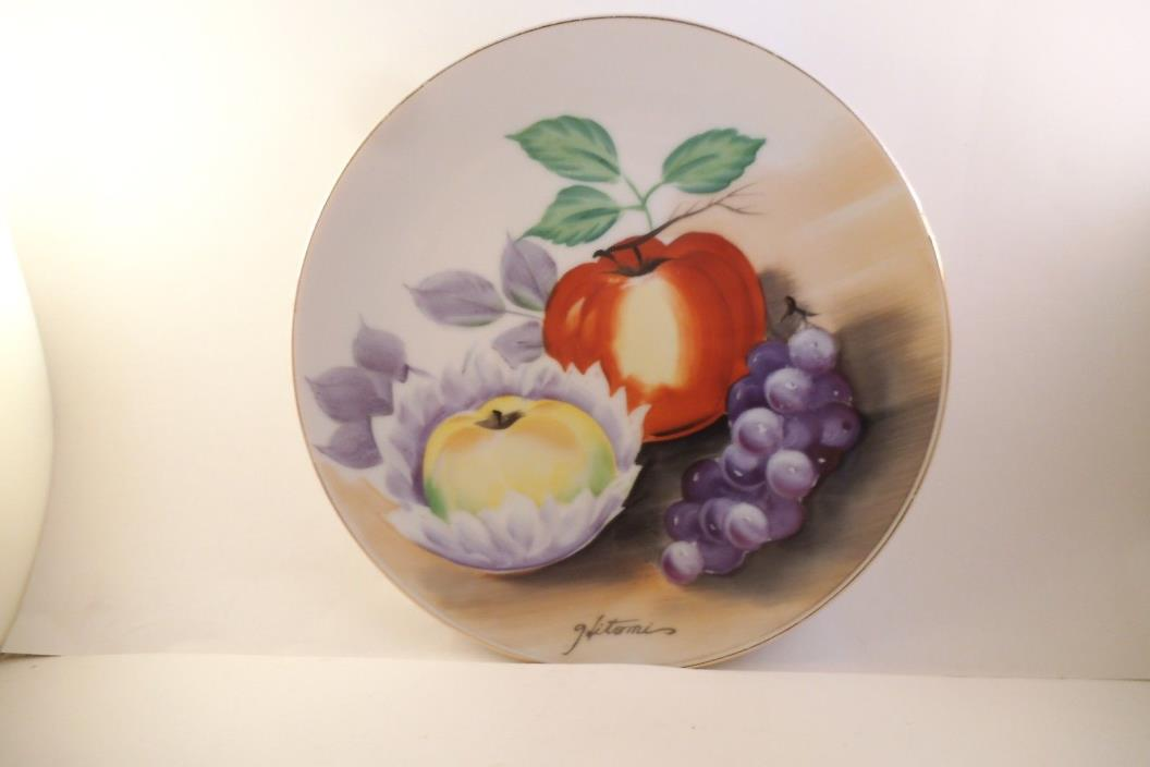 Vintage Ucagco China Made in Japan Decorative Plate Apple Grapes