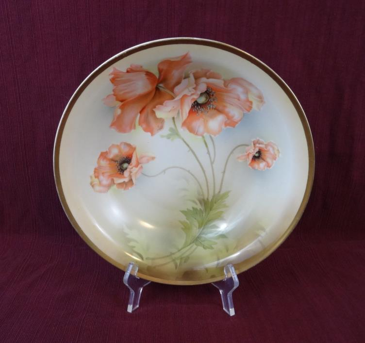 Vintage RS Germany Hand Painted Gold PINK POPPY 10