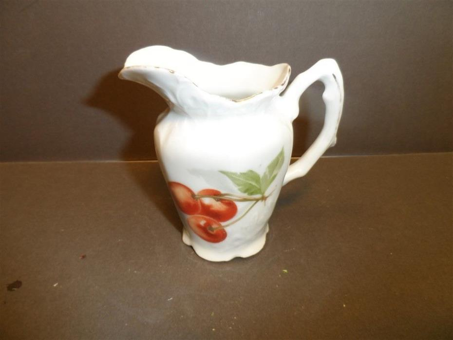 Vintage Cherry Decorated Porcelain Cream Pitcher No Mark