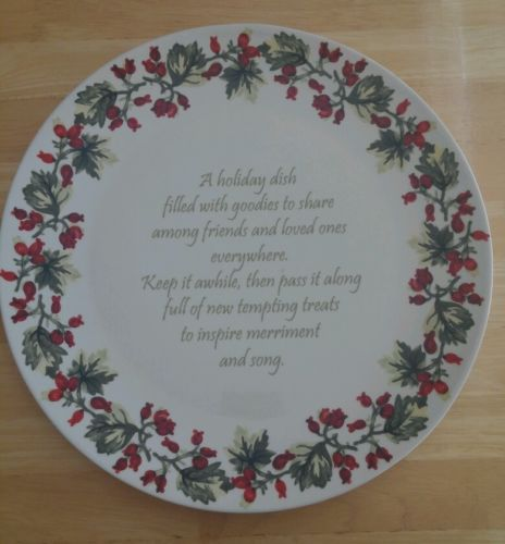 April Cornell Silvestri Demdaco Large Holiday Holly Share Plate Platter Tray