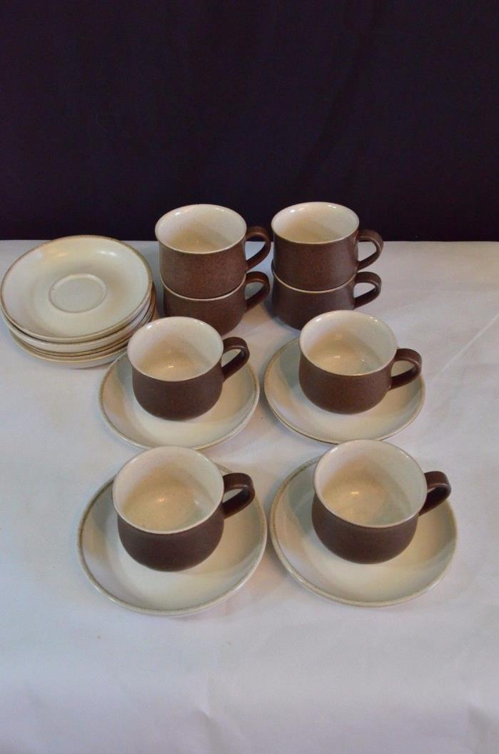 SET OF 8 DENBY Stoneware MUGS / CUPS & saucers made in england tea set