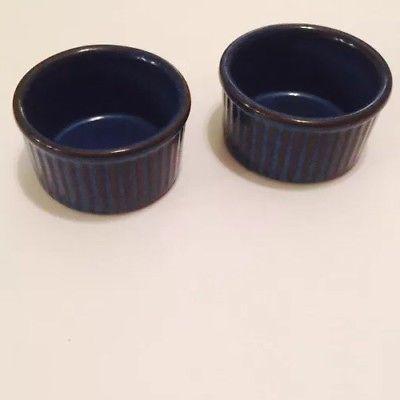 Denby English Blue Ramekins RAMS HEAD Stoneware - Pair