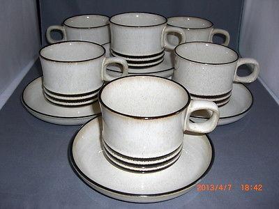 6 Denby Langley Stoneware Sahara Pattern Cups & Saucers Sets