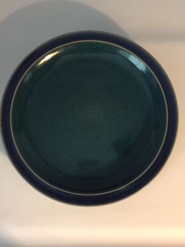 NWT Denby Harlequin dinner plates blue green Lot of 4