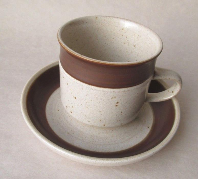 Vintage DENBY Pottery Potter's Wheel RUSSET MUG CUP & SAUCER Mid Century England