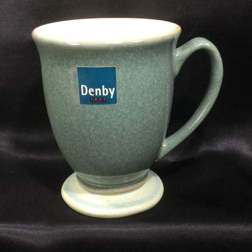 "DENBY - Calm - Coffee Tea Footed Tall Mug 4 1/4"""