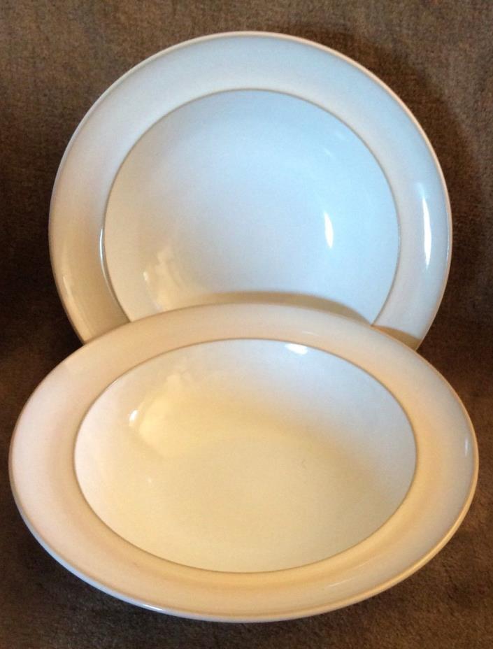Denby England NATURAL PEARL Two 9 inch Individual Rimmed Pasta Bowls