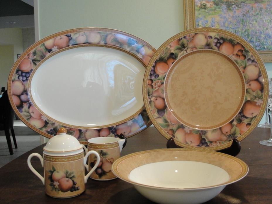 FITZ AND FLOYD TUSCANY 5 SERVICE PIECES 2 PLATTER, VEG BOWL, CREAMER, SUGAR