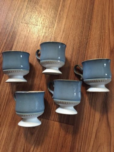 SET OF FIVE Vintage Denby Stoneware Seville Tea Cups in Excellent Condition