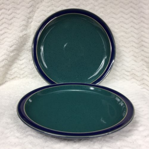 Denby Langley Harlequin Speckle Dinner Plates Set of 2 Green/Blue