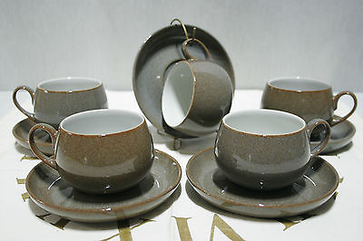 LOT of 5 DENBY Greystone Brown Cup and Saucer SETS,  Mint!