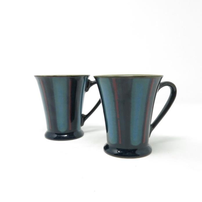 Denby Gatsby Stripe Coffee Tea Mug Cup 8 oz Stoneware England Lot of 2