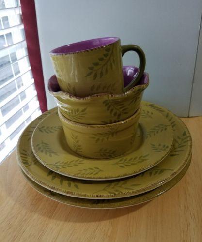 6 pc Set HOME PASTIS GREEN w/ PURPLE  LEAVES 2 DP, 1 SP,  2 Soup Bowls, 1 Mug