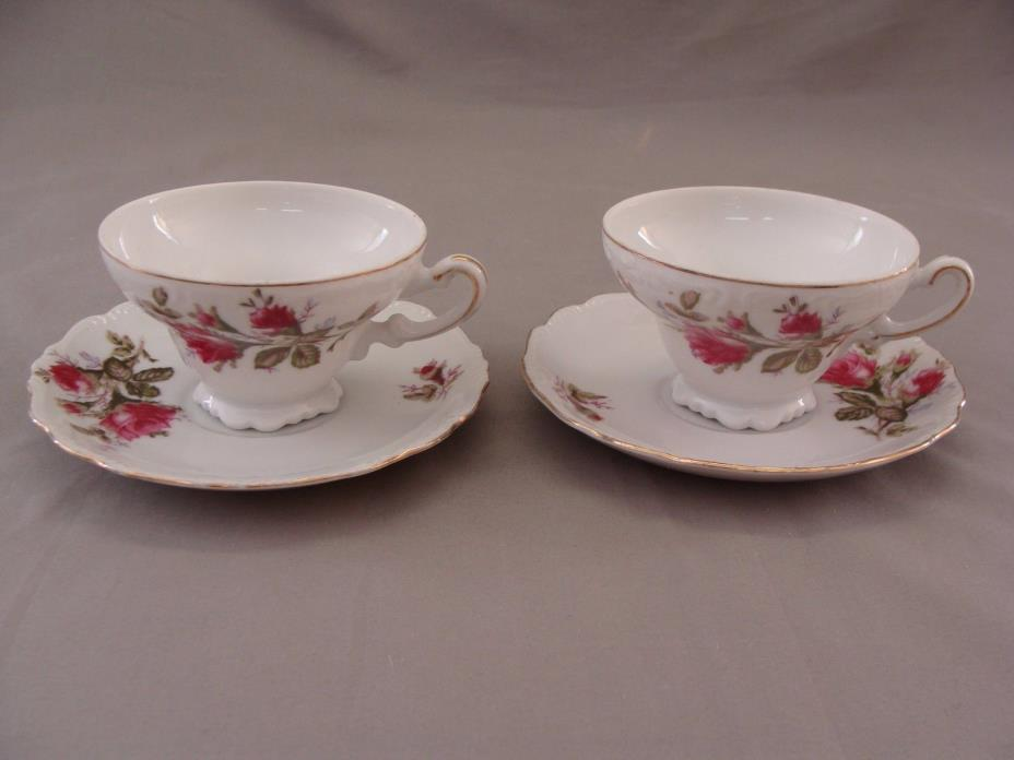 2 Porcelain China Cups & 2 Saucers , Moss Rose, Unmarked