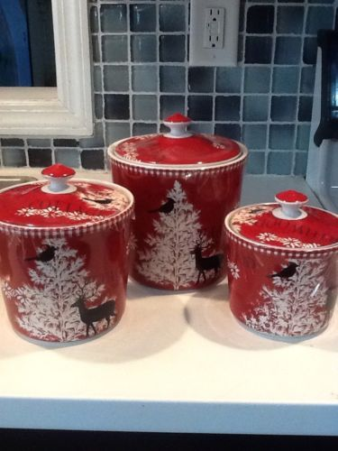 222Fifth Northwood Cottage Christmas  New 6 Pieces 3 Canisters With 3 Lids