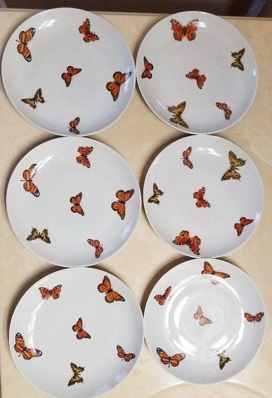 6 Porcelain Butterfly Butterflies 7 1/4