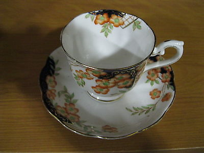 VINTAGE ROYAL ALBERT CROWN CUP & SAUCER TINY ORANGE & GREEN FLOWERS DESIGN