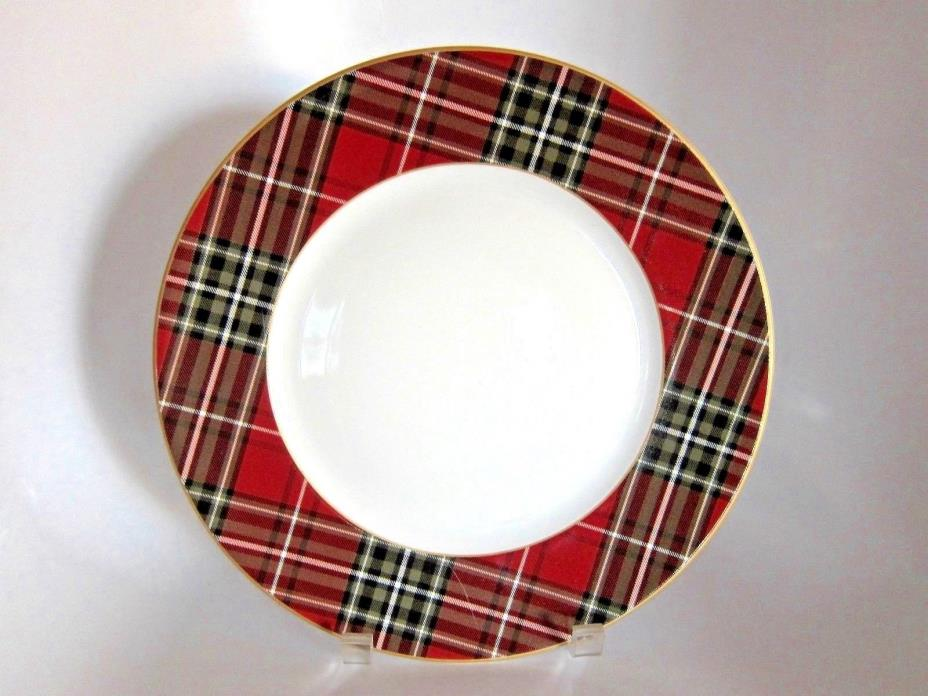 222 Fifth WEXFORD Plaid Tartan Holiday Christmas One DINNER PLATE Porcelain NEW