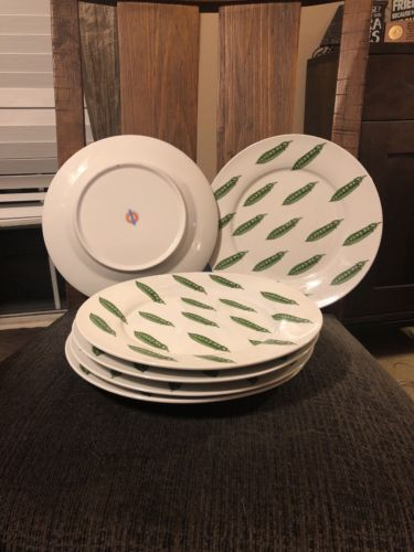 6 Cordon Bleu Bia China Green Peas Dinner Plates