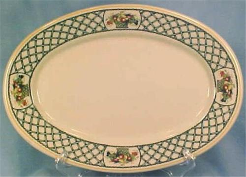 Bountiful Oval Platter Rego Japan E454-58 Fruit Basket Lattice Porcelain