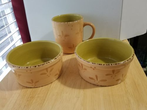 3 pc Set HOME PASTIS Yellow w/green Leaves 1 Mug,  2 Soup Bowls