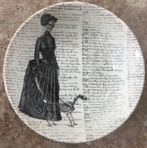 Victorian English Pottery Lady Dog Skeleton Script Serving Bowl 9