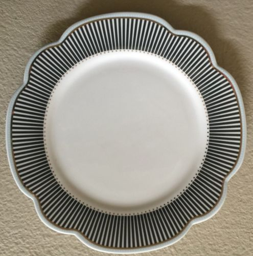 GRACE'S TEAWARE GREY WHITE STRIPED SIDE PLATES Set Of 4 WITH BLUE ACCENTS