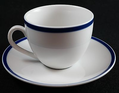 Brasserie Blue by Williams Sonoma Coffee Mug & Saucer White Blue Band Japan 8 oz