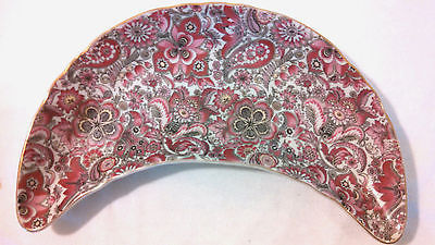 Vintage Royal Paisley#1645 Mauve Color Floral Crescent Dish Gold Trim